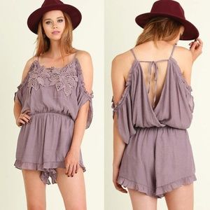 Pants - Mauve Ruffle Romper Playsuit Open Back Embroidere.